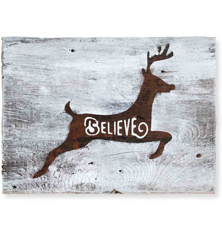 "Reclaimed Wood Christmas Wall Art, ""Believe"" (10 x 7)"