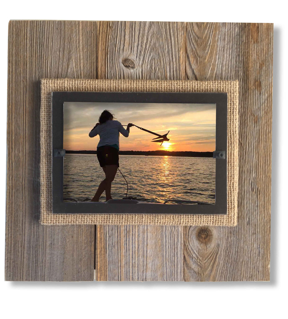 Reclaimed Wood Photo Frame, Black Border (11 x 11) | Rustic Frames