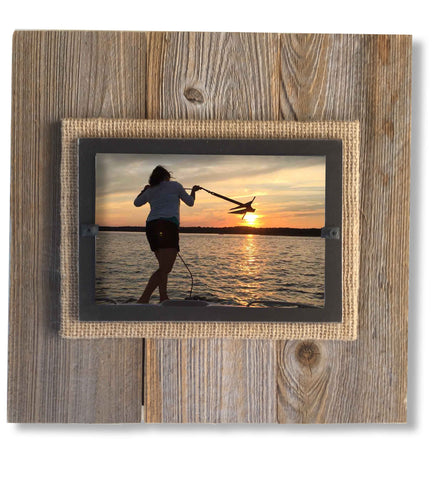 Reclaimed Wood Photo Frame, Black Border (11 x 11)