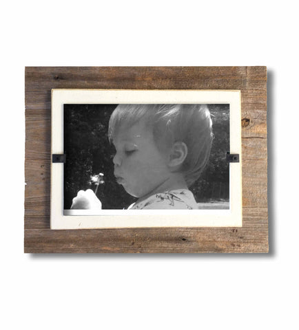 Desktop Reclaimed Wood Photo Frame, Cream Backboard (7 x 9)
