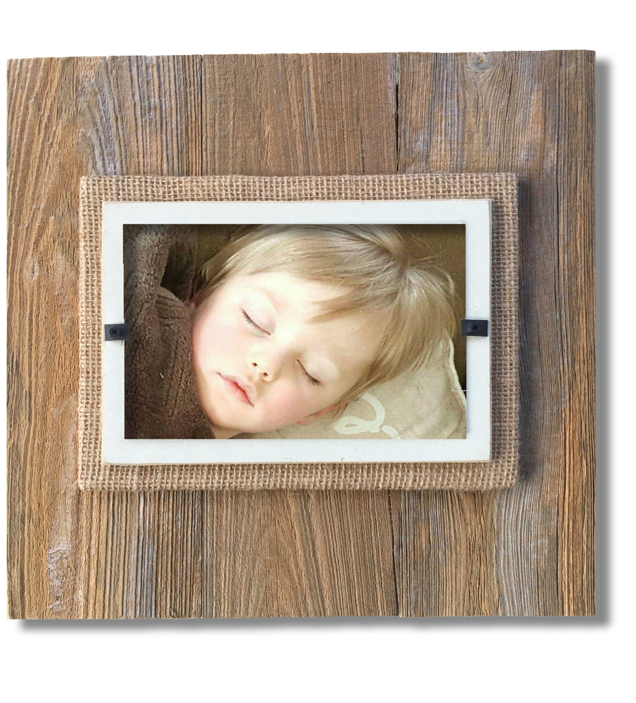 Reclaimed Wood Photo Frame, Cream Border (11 x 11)