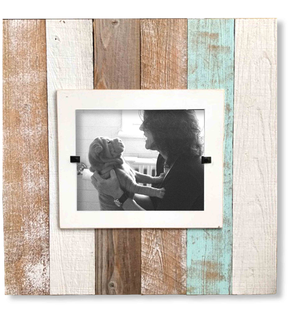 Reclaimed Wood Photo Frame, Sea Mist Slat (22 x 22) | Rustic Frames