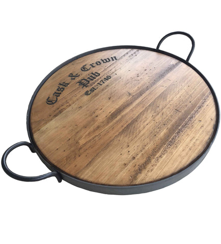 Reclaimed Wine Barrel Wood Pub Tray with Wrought Iron Handles