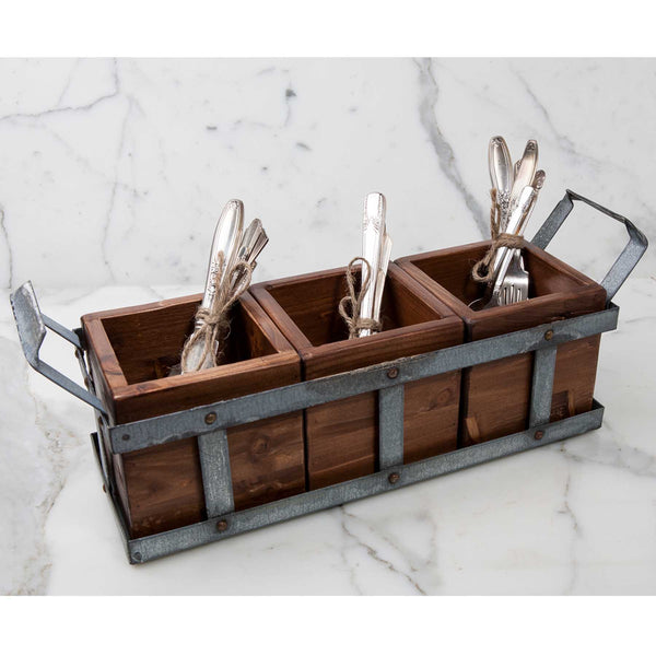 Reclaimed Wood Silverware Caddy