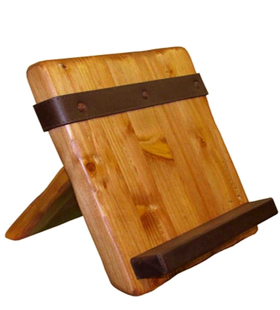 Wood Tablet & Cookbook Stand, Leather - Reclaimed Wood Tablet Stand, Leather Rustic Wall Co.