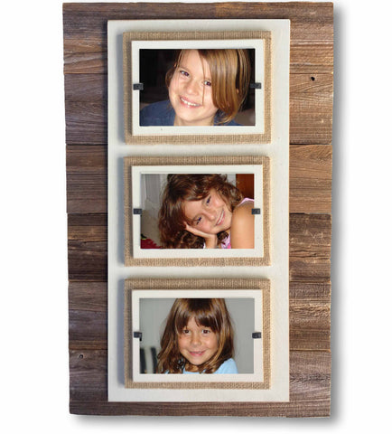 Reclaimed Wood Three-Photo Frame, Cream Border (15 x 23)