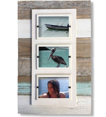 Reclaimed Wood Three-Photo Frame, Sea Mist Slats