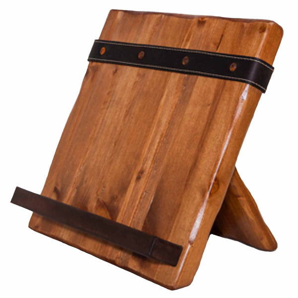 Reclaimed Wood and Salvaged Leather Ipad Cookbook Holder