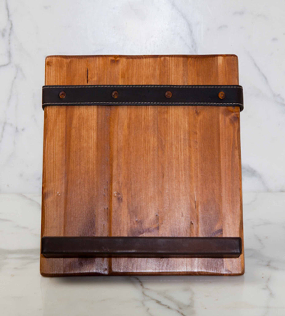 ... Reclaimed Wood Tablet and Cookbook Holder with Salvaged Leather - Reclaimed Wood Tablet And Cookbook Holder With Salvaged Leather