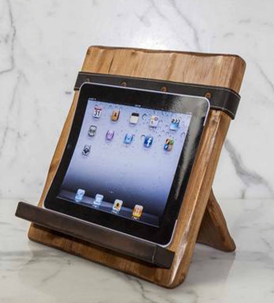 Reclaimed Wood Tablet and Cookbook Holder with Salvaged Leather