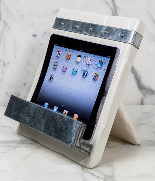 Reclaimed Wood iPad/Cookbook Stand, White