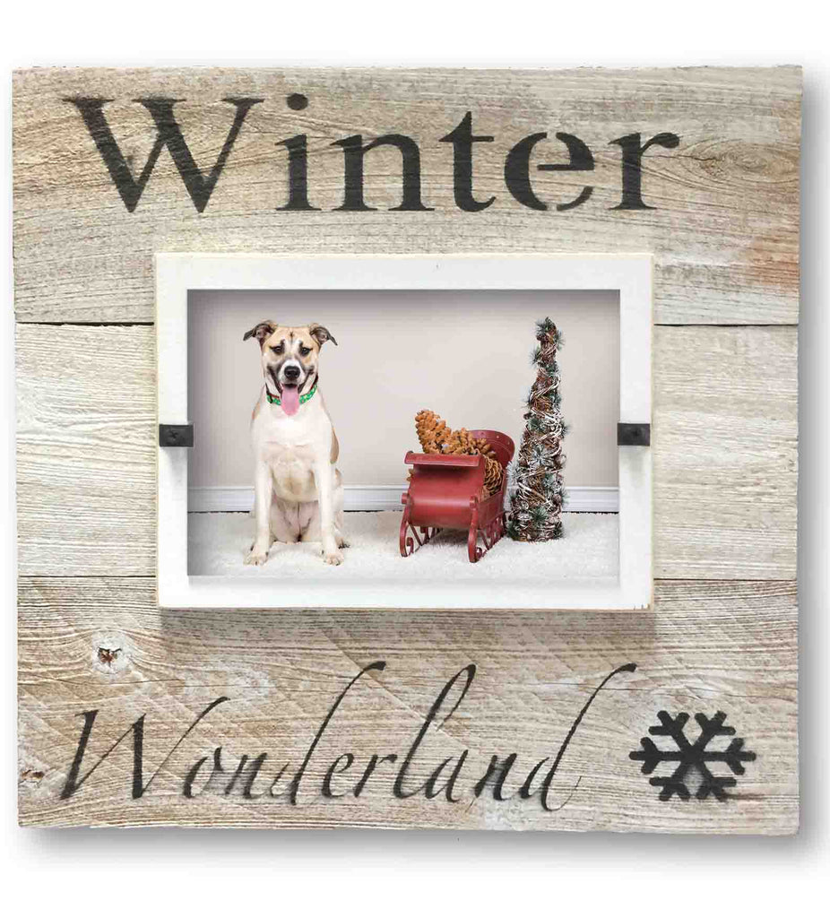 "Christmas Photo Frame ""Winter Wonderland"", White Washed Reclaimed Wood (11 x 11)"
