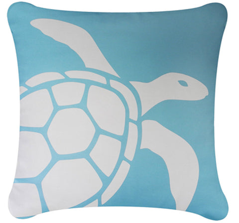 Sea Turtle Decorative Organic Cotton Square Throw Pillow Cover  (18 x 18), Ocean Blue