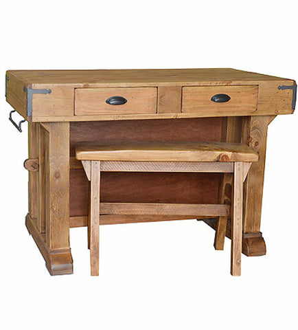 Santa Maria Sold Pine Kitchen Island and Bench