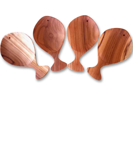 Set of 4 Teak Appetizer Plates with Handles