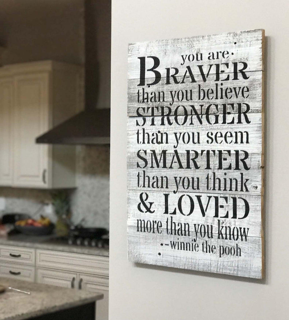 Quotes On Wood Wall Art : Quot you are braver winnie the pooh quote rustic wall co