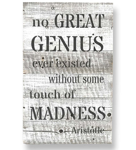 Reclaimed Barn Wood Wall Art Genius Quote by Aristotle