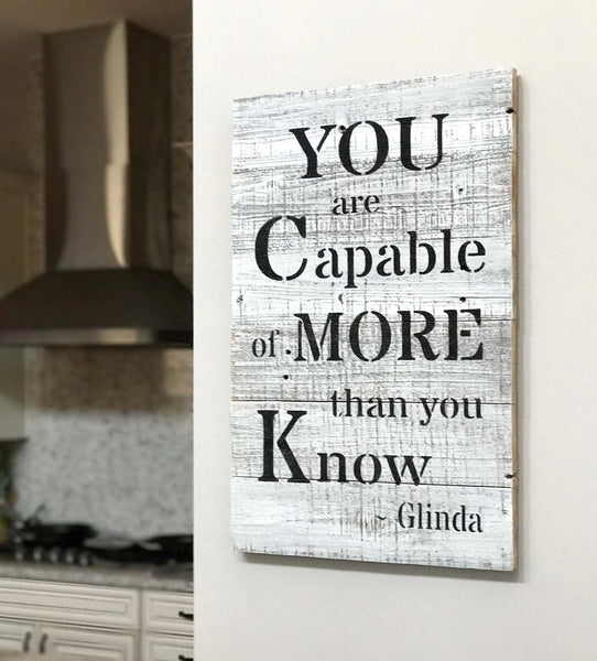 "Reclaimed Wood Wall Art ""You are Capable..."" Wizard of Oz Quote"