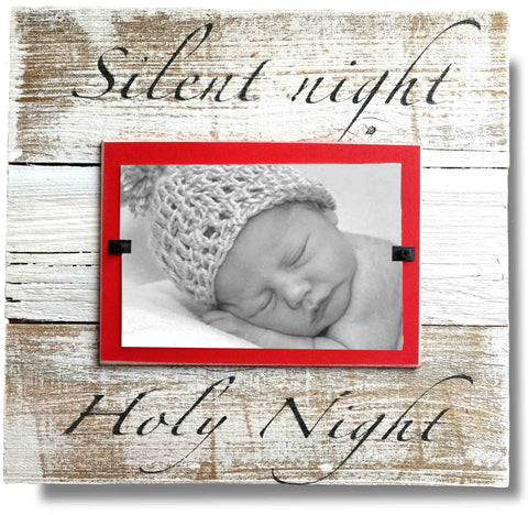 "Holiday Reclaimed Wood Photo Frame, ""Silent Night Holy Night"" (11x11)"