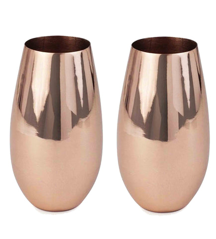 100% Solid Copper Champagne Flutes, 12 oz (Set of 2)