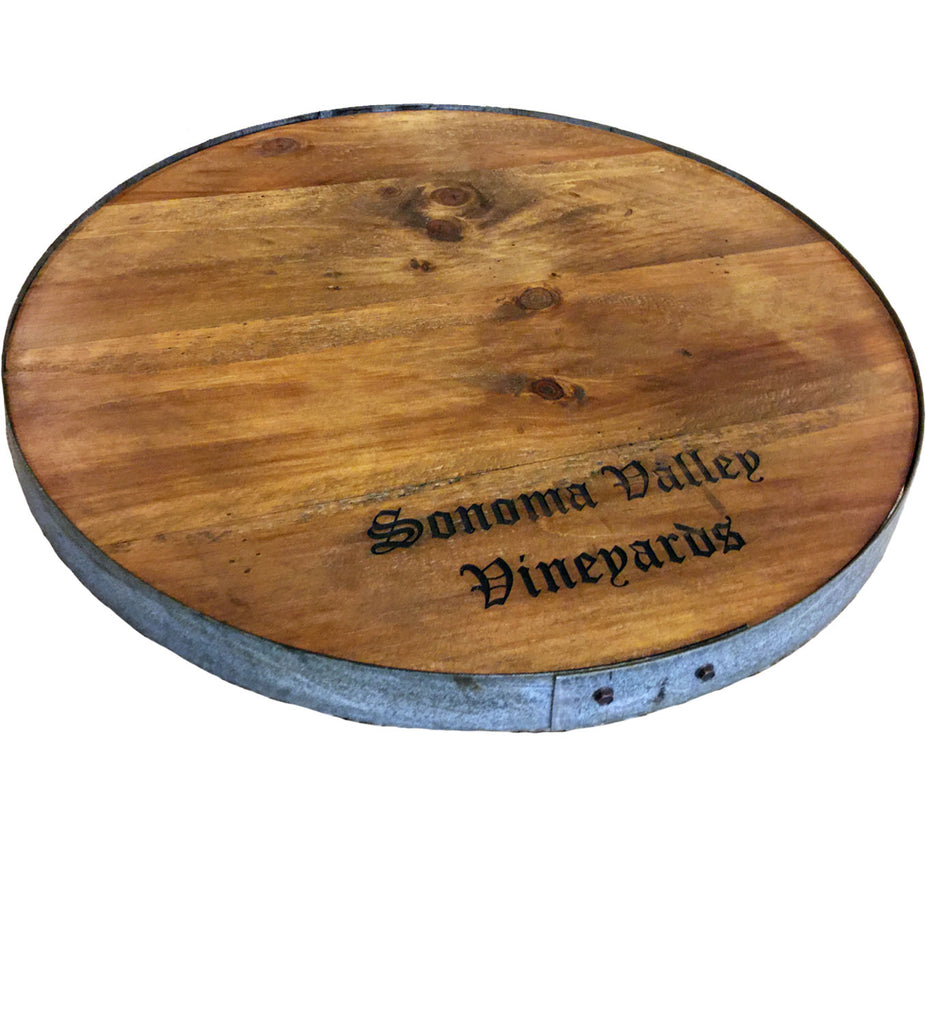 Sonoma Vally Vineyards Wine Barrel Lazy Susan With Barrel Ring Lip