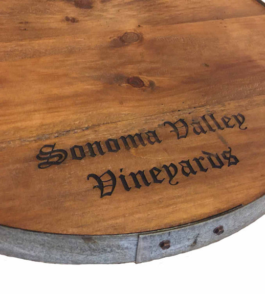 Sonoma Valley Vineyards Wine Barrel Lazy Susan with Barrel Ring Lip