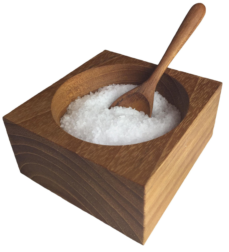 Square Teak Salt Cellar with Spoon