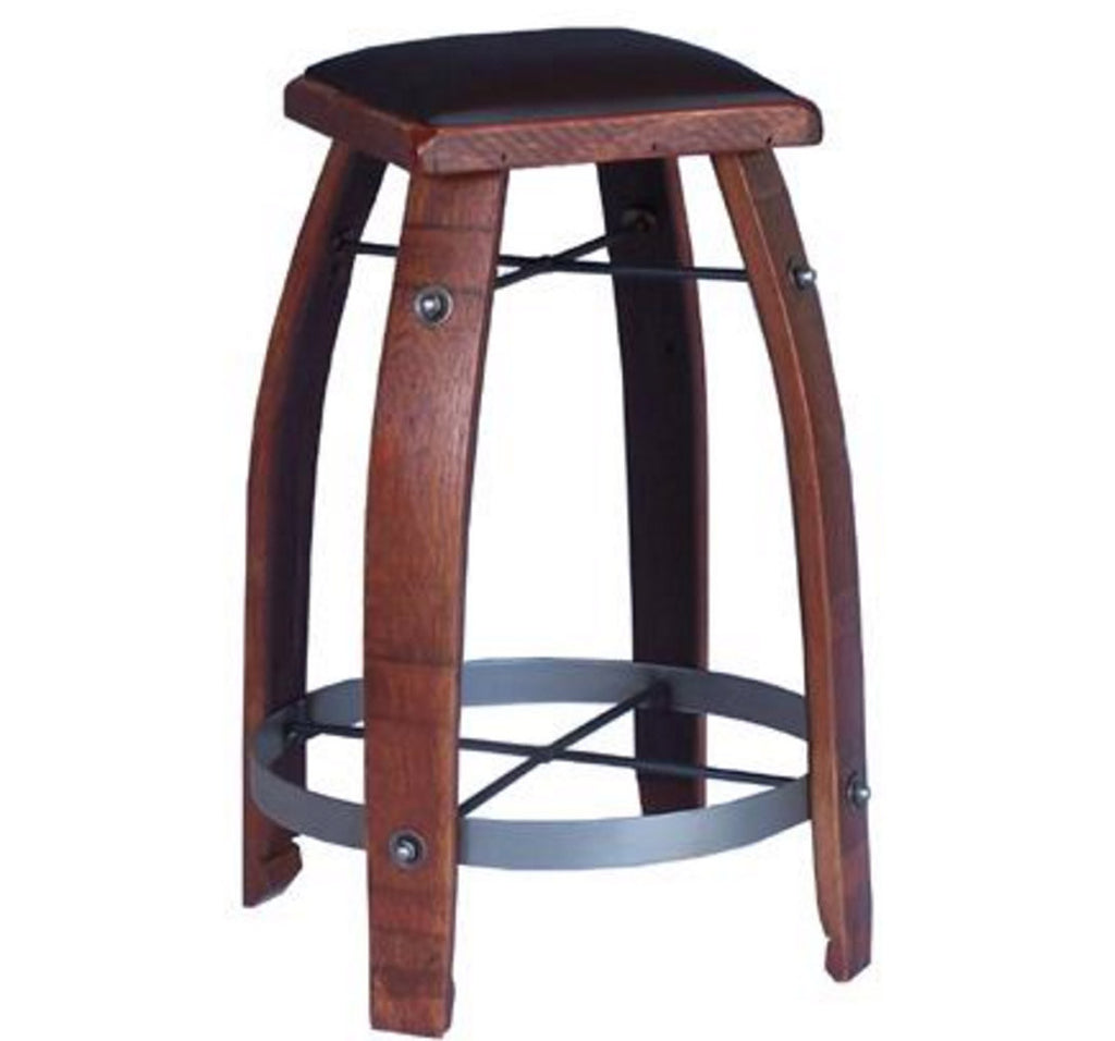 Stave Stool with Chocolate Leather Seat