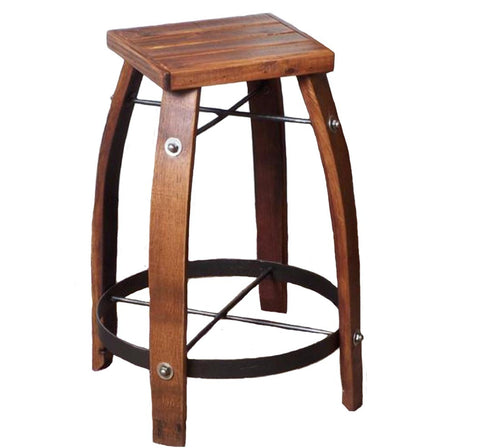 Reclaimed Wine Barrel Stave Stool with Wood Seat
