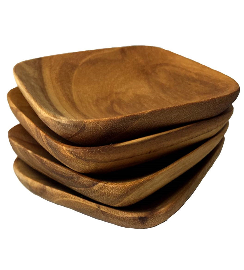 Teak Wood Square Herb Bowls (Set of 4)