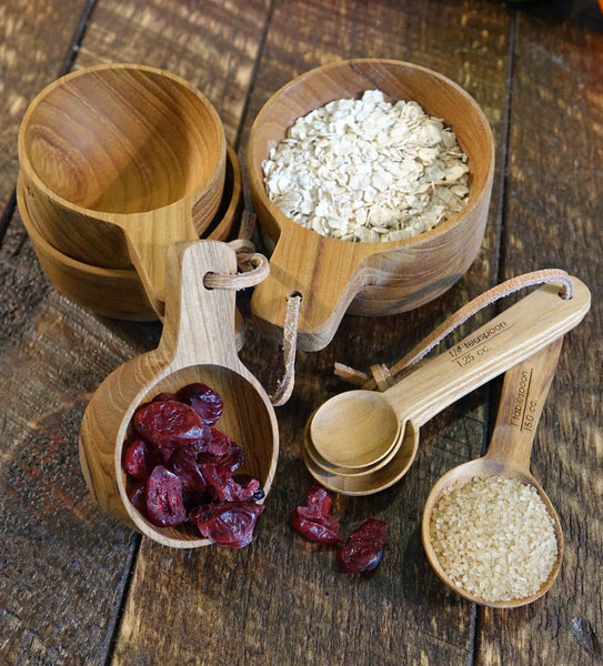Teak Wood Measuring Cups and Spoons Set