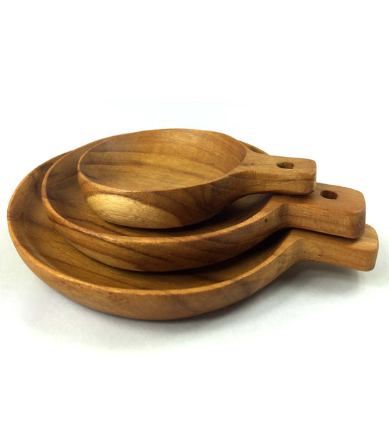 Teak Round Plates with Handles, Set of 3