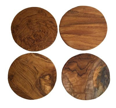Natural Teak Round Coasters, Set of 4