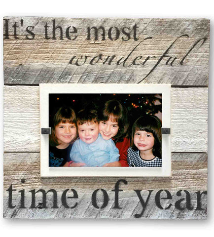 "Christmas Photo Frame ""The Most Wonderful Time of the Year Holiday"", White Mat (11 x 11)"