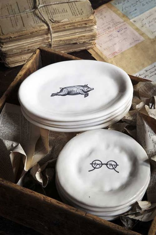 ... French Country Pig Oval Appetizer Plates Set of 4 ... & French Country Pig Oval Appetizer Plates   Rustic Wall Co.