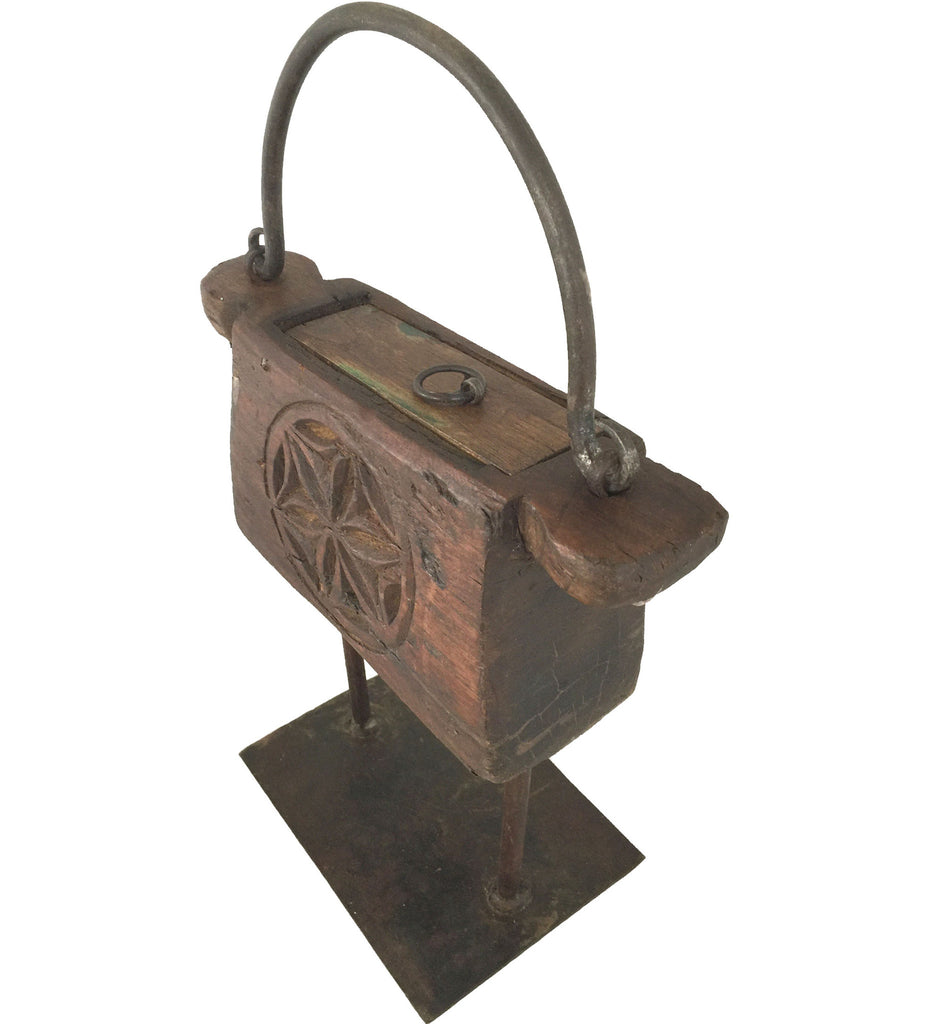 Antique Carved Wooden Tinder Box Rustic Wall Co