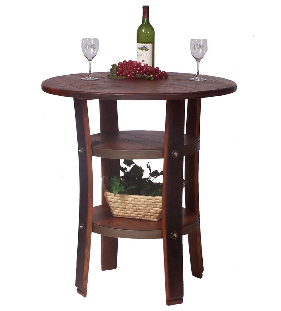 Repurposed Wine Barrel Pub Amp Bistro Table With Shelves