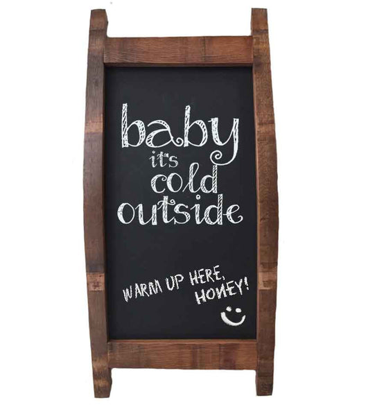 Wine Barrel Magnetic Hanging Chalkboard