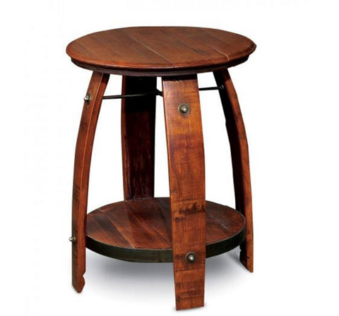 Wine Barrel Top Side Table With Shelf