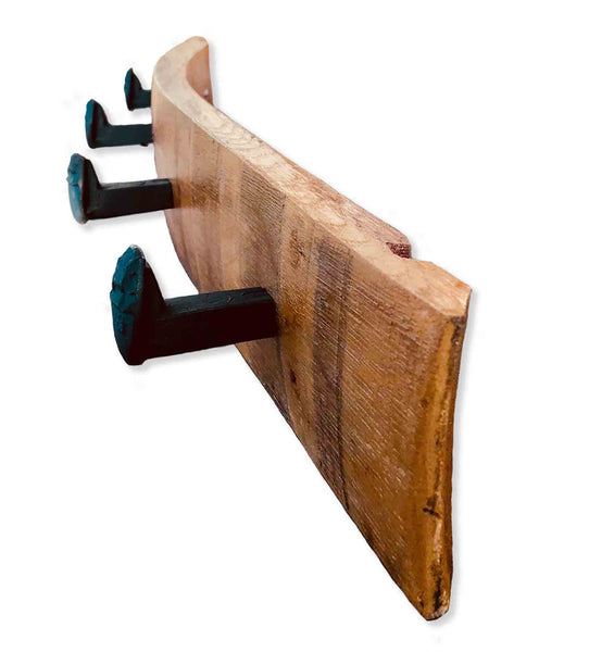 Napa Valley Railroad Spike Coat Rack from Wine Barrel Staves