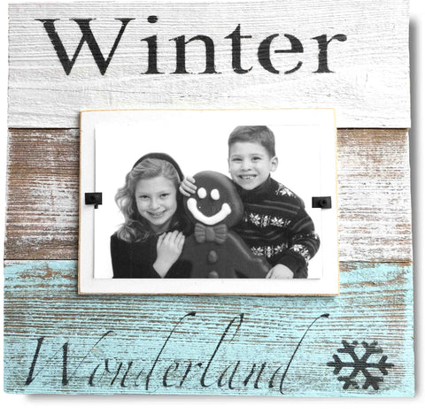 "Christmas Photo Frame ""Winter Wonderland"", Snow Blue White Washed Reclaimed Wood (11 x 11)"