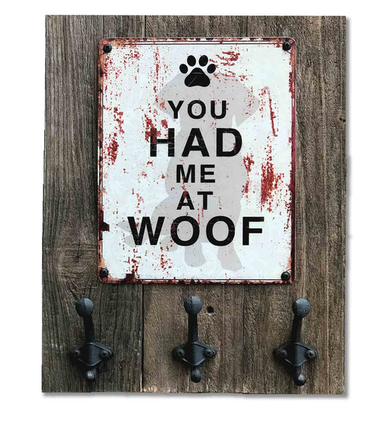 """You Had Me at Woof"" Vintage Tin and Reclaimed Barn Wood Hanging Dog Leash Rack"