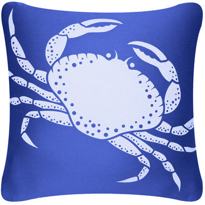 Crab Decorative Modern Square Throw Pillow Cover (Marine Blue)