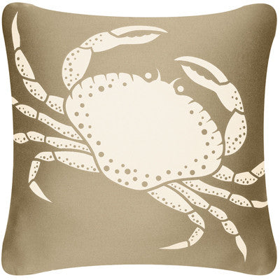 Crab Decorative Modern Square Throw Pillow Cover (Khaki Brown)