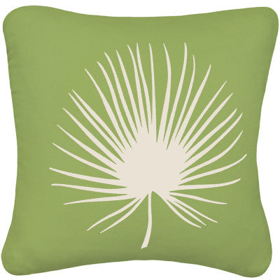 Palm Frond Decorative Modern Square Throw Pillow Cover (Apple Green)