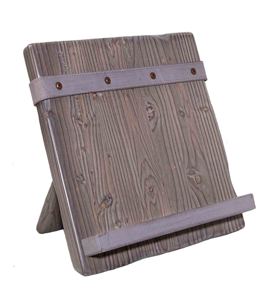Reclaimed Wood Tablet and Cookbook Holder, Gray