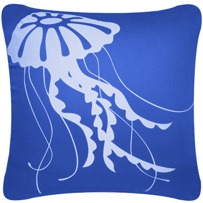 Jellyfish Decorative Modern Square Throw Pillow Cover (Marine Blue)