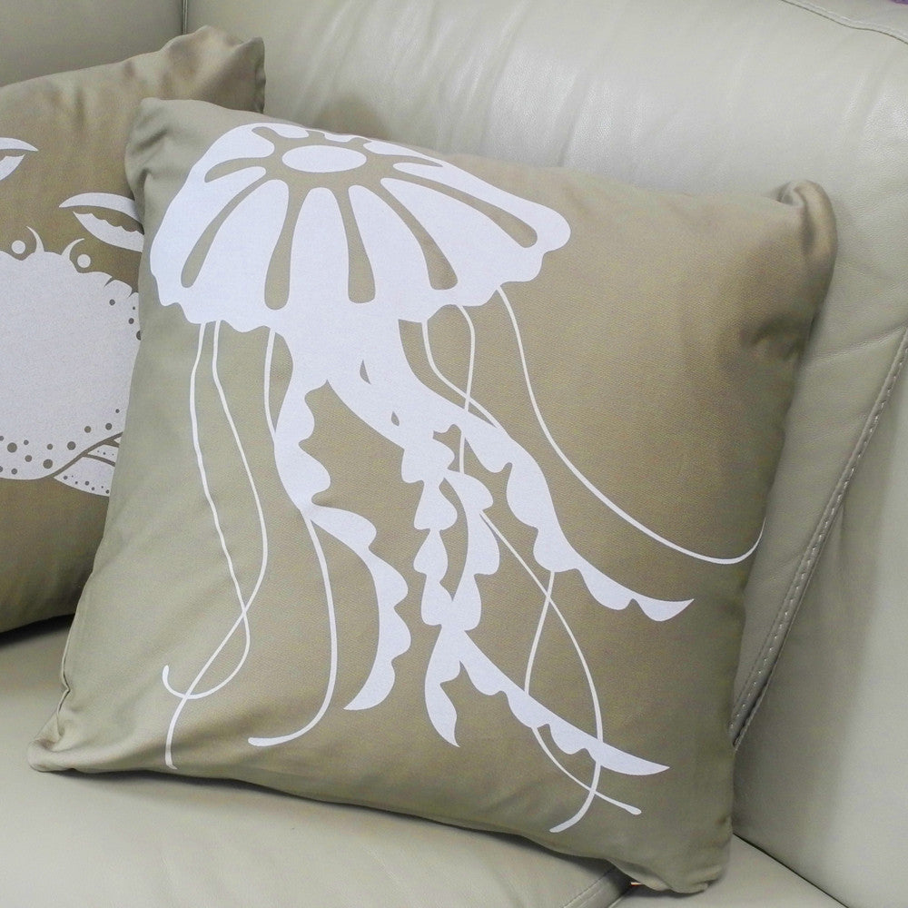 Modern Square Pillow Pull : Jellyfish Decorative Modern Square Throw Pillow (Khaki Tan)