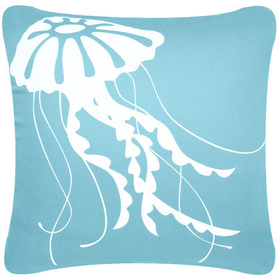Jellyfish Decorative Modern Square Throw Pillow Cover (Ocean Blue)