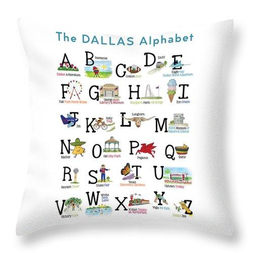 "ABC's of Dallas Pillow 20"" x20"""